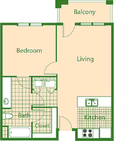 B1 / B2 - Robin / Wren - One Bedroom / One Bath - 696 Sq. Ft.*