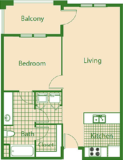 C - Bluejay - One Bedroom / One Bath - 780 Sq. Ft.*