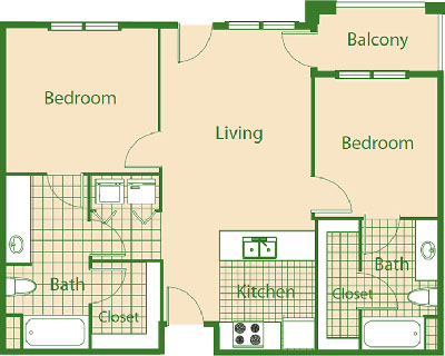 D - Mockingbird - Two Bedroom / Two Bath - 925 Sq. Ft.*